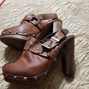 Topshop Premium Leather Clogs